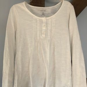 St. John's Bay Long Sleeve Top Size Large White